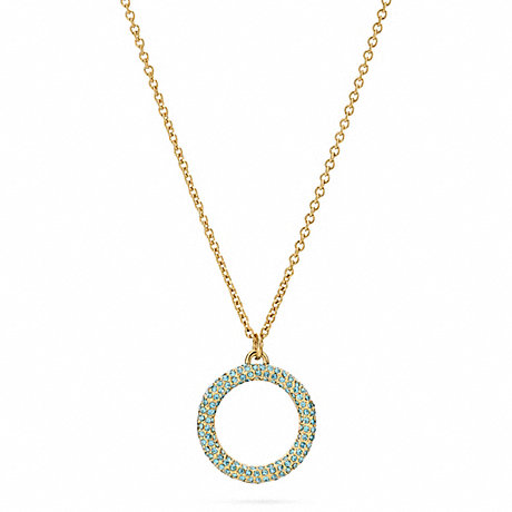 COACH f96420 PAVE OPEN CIRCLE PENDANT NECKLACE GOLD/TURQUOISE