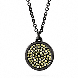 COACH F96421 Small Pave Disc Pendant Necklace BLACK/YELLOW