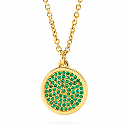 COACH F96421 Small Pave Disc Pendant Necklace GOLD/GREEN