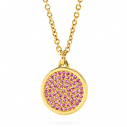 COACH F96421 Small Pave Disc Pendant Necklace GOLD/MAGENTA