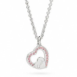 COACH F96447 Sterling Pave Coach Script Heart Necklace