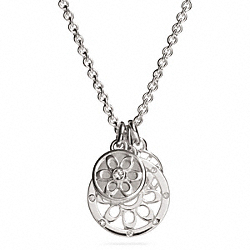 COACH STERLING SIGNATURE C DISC NECKLACE - SILVER/SILVER - F96487