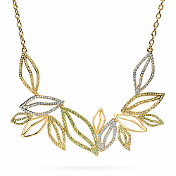 COACH F96534 Pave Leaf Short Necklace