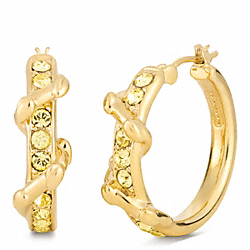COACH F96540 - PAVE VINE HOOP EARRINGS GOLD/YELLOW
