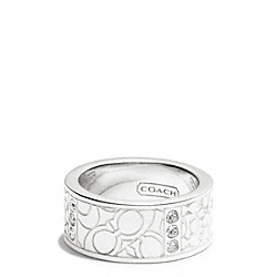 COACH F96544 Sterling Pave Signature C Patchwork Band Ring
