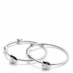 COACH F96552 - STERLING HEART STATION HOOPS ONE-COLOR