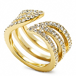 COACH F96560 Pave Leaf Wrap Ring