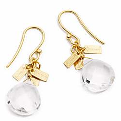 COACH F96582 Faceted Crystal Drop Earrings