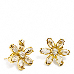FACETED FLOWER STUD EARRING - f96584 - GOLD/GOLD