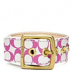 COACH F96594 Signature C Leather Buckle Bracelet BRASS/PINK