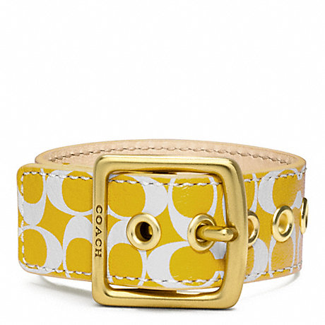 COACH F96594 SIGNATURE C LEATHER BUCKLE BRACELET BRASS/YELLOW