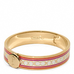 COACH F96628 Half Inch Signature Stripe Bangle GOLD/PINK