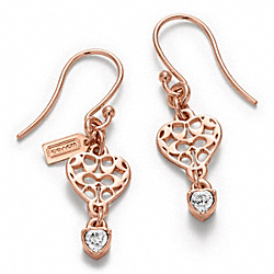 COACH F96666 Miranda Heart Stone Earrings ROSE GOLD/CLEAR