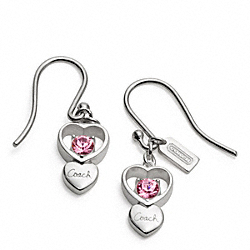 COACH F96673 Sterling Open Heart Stone Earrings