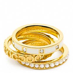 COACH F96681 Op Art Pearl Ring Set