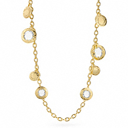 COACH F96695 Multi Glass Station Necklace GOLD/CLEAR