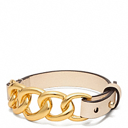 COACH F96761 Chain Leather Bracelet GOLD/VACHETTA
