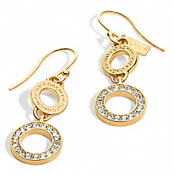 COACH F96799 Pave Double Drop Earrings