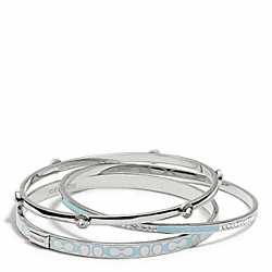 COACH F96811 Pave Signature C Bangle Set SILVER/DUCK EGG