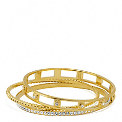 COACH F96820 Pave Rope Bangle Set