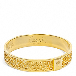 COACH F96855 Half Inch Signature Bangle GOLD/GOLD