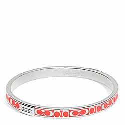 COACH F96857 Thin Signature Bangle SILVER/HOT ORANGE