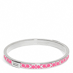 COACH F96857 Thin Signature Bangle SILVER/WATERMELON