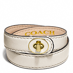 COACH F96861 Double Wrap Enamel Turnlock Bracelet BRASS/WHITE