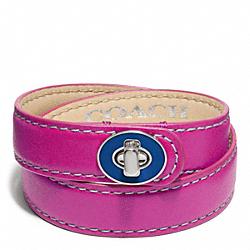 COACH F96861 Double Wrap Enamel Turnlock Bracelet SILVER/MAGENTA