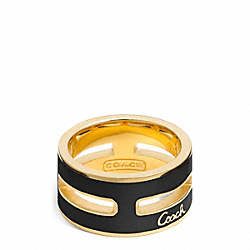 COACH F96866 Enamel Grid Ring GOLD/BLACK