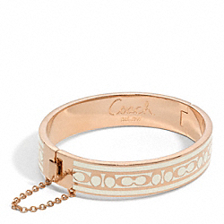 COACH F96888 Signature C Chain Hinged Bangle ROSE GOLD/WHITE