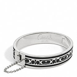 SIGNATURE C CHAIN HINGED BANGLE - f96888 - SILVER/BLACK