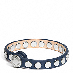 COACH F96894 Skinny Stud Leather Bracelet SILVER/MDNGHT OAK/CSTL BLUE