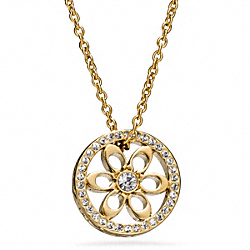 COACH F96904 Pave Signature Disc Pendant Necklace