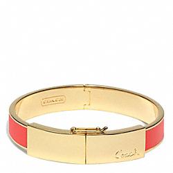 COACH F96908 Half Inch Thin Hinged Lozenge Bangle GOLD/RED