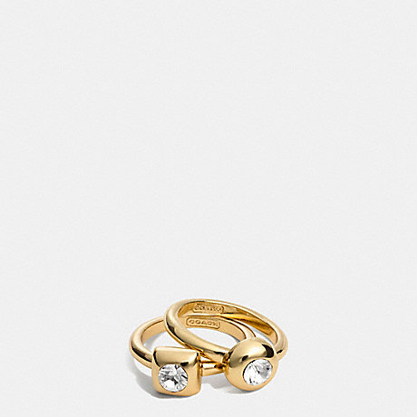 COACH f96917 STONE RING SET GOLD/CLEAR