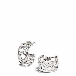 COACH PIERCED OP ART HUGGIE EARRINGS - SILVER - F96923