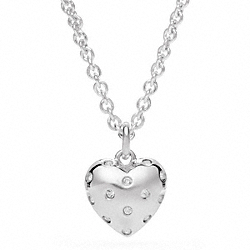 COACH STERLING PAVE HEART PENDANT NECKLACE - SILVER/CLEAR - F96940