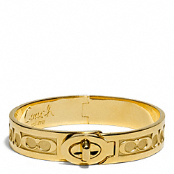 COACH F96944 Half Inch Hinged Signature C Turnlock Bangle GOLD/GOLD