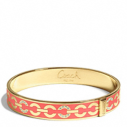 COACH F96965 Thin Op Art Pave Bangle GOLD/LOVE RED