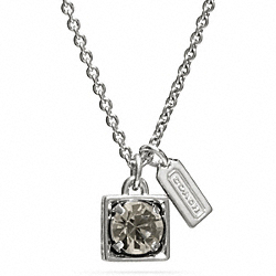 COACH F96981 Beveled Square Pendant Necklace SILVER/BLACK