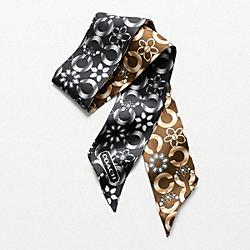 COACH F97583 Jewelry Op Art Motif Ponytail Scarf BLACK/MAHOGANY