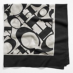COACH F97624 Coach Wordmark Square Scarf BLACK