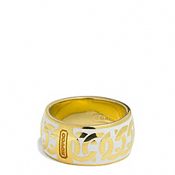 COACH LINKED SIGNATURE C RING - GOLD/WHITE - F99515