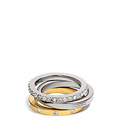 COACH STACKABLE PAVE LOGO RING - ONE COLOR - F99552