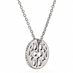 COACH F99560 Pave Signature C Disc Pendant Necklace