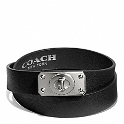 COACH F99619 Double Wrap Turnlock Plaque Bracelet  SILVER/BLACK