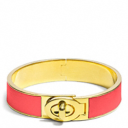 HALF INCH HINGED LEATHER TURNLOCK BANGLE - f99628 - GOLD/LOVE RED