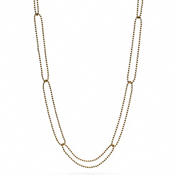 COACH F99632 Interlocking Ball Chain Long Necklace GOLD