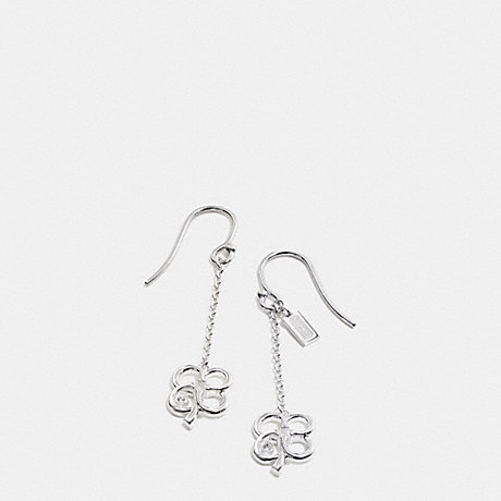 COACH STERLING SIGNATURE C CLOVER EARRINGS -  SILVER/CLEAR - f99675